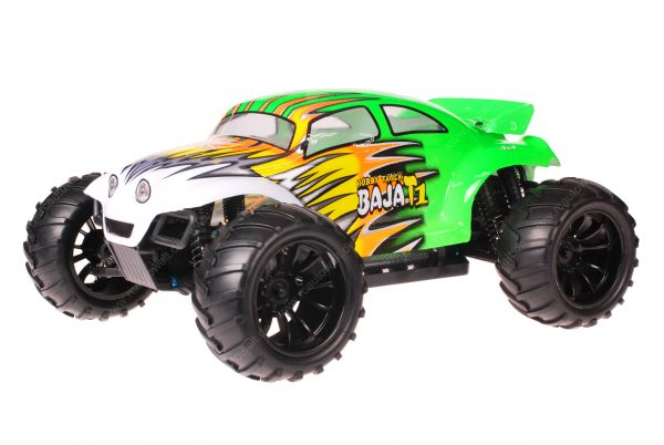 HSP 1zu10 Brushed Brontosaurus RC Monster Truck Baja Beetle Green Flames