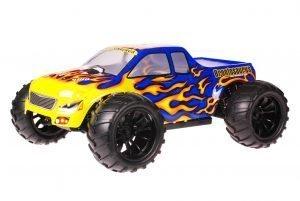 HSP 1zu10 Brushed Brontosaurus RC Monster Truck Blue Flames