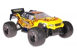 Himoto 1zu10 Brushed Eamba-XR1 RC Truggy Tribeshead Black Flames