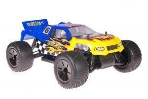 Himoto 1zu10 Brushed Eamba-XR1 RC Truggy Tribeshead Blue Flames