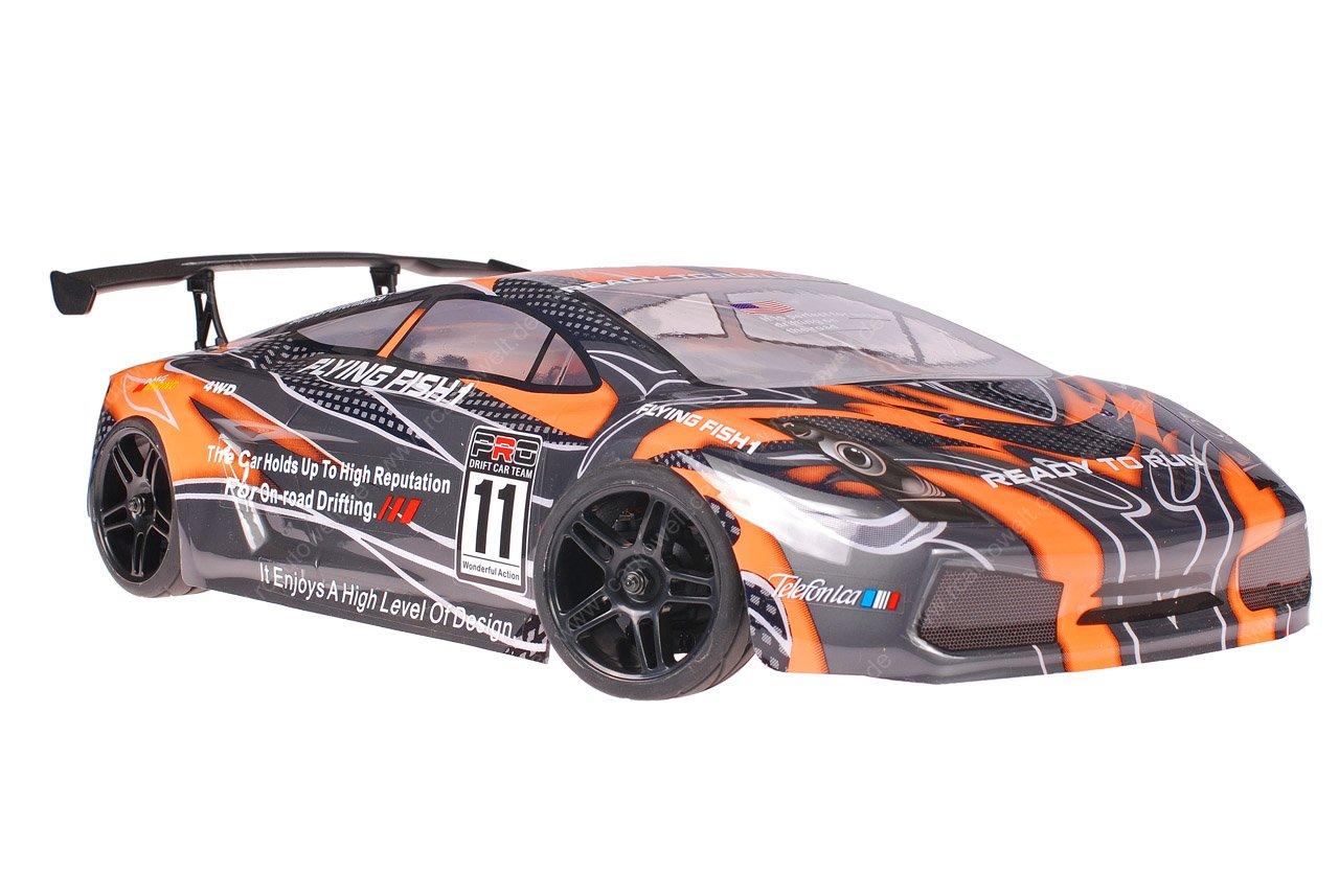 Himoto 1zu10 Brushed Nascada Onroad RC Auto Lamborghini Orange Carbon