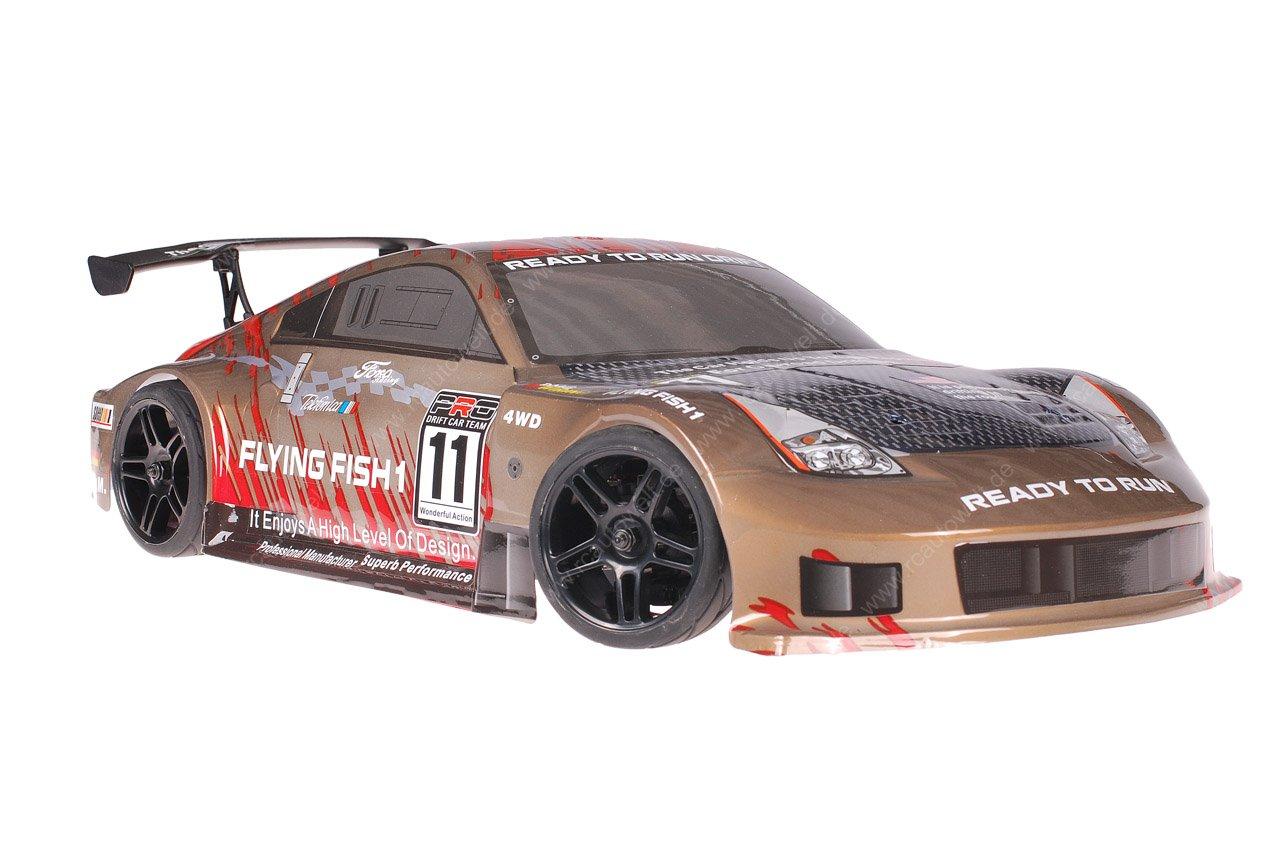 Himoto 1zu10 Brushed Nascada Onroad RC Auto Porsche 911 Carrera Gold Carbon 1